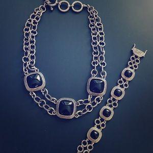 Park Lane Chunky Black Necklace Set w/ Bracelet